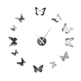 Extravagante Wanduhr BUTTERFLIES in Chrom Optik Schmetterlinge Wand Edelstahl Uhr Geschenkidee - 1