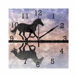 EZIOLY Wanduhr mit Pferde-Silhouette bei Sonnenuntergang, quadratisch, kein Ticken, digital, leise, dekorative Uhren für Küche, Schlafzimmer, Wohnzimmer - 1