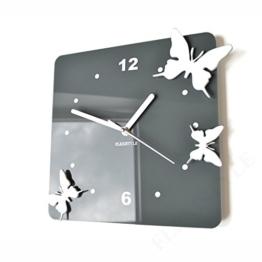 FLEXISTYLE Moderne Wanduhr Fliegende Schmetterlinge 3D Wohnzimmer Schlafzimmer Modern Deko (grau) - 1