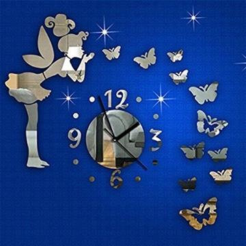 Forepin® Moderne Frameless 3D Wanduhr DIY Wandaufkleber Clock Wandtattoo Spiegel Oberfläche Aufkleber Spiegeleffekt Aufkleber Haus und Büro Dekoration Plexiglas Engel und Schmetterling Muster Set - Silber - 2