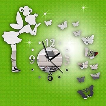 Forepin® Moderne Frameless 3D Wanduhr DIY Wandaufkleber Clock Wandtattoo Spiegel Oberfläche Aufkleber Spiegeleffekt Aufkleber Haus und Büro Dekoration Plexiglas Engel und Schmetterling Muster Set - Silber - 3