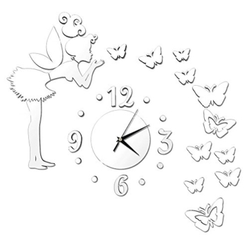Forepin® Moderne Frameless 3D Wanduhr DIY Wandaufkleber Clock Wandtattoo Spiegel Oberfläche Aufkleber Spiegeleffekt Aufkleber Haus und Büro Dekoration Plexiglas Engel und Schmetterling Muster Set - Silber - 4