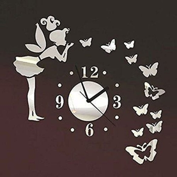 Forepin® Moderne Frameless 3D Wanduhr DIY Wandaufkleber Clock Wandtattoo Spiegel Oberfläche Aufkleber Spiegeleffekt Aufkleber Haus und Büro Dekoration Plexiglas Engel und Schmetterling Muster Set - Silber - 1
