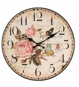 Formano Wanduhr Wand Uhr mit Rosen und Schmetterlingen 34 cm | Stilechte Uhr ideal im Wohnzimmer - 1