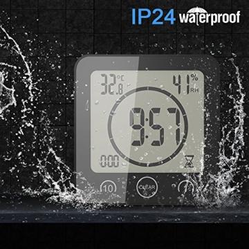 FORNORM Shower Clock Dusche Uhr Wasserdicht, Badezimmer Uhr Digital mit Saugnapf LCD Display Luftfeuchtigkeit Temperatur Wanduhren, AM/PM oder 24 Stunden Format, Batterien, Countdown Timer, Schwarz - 2