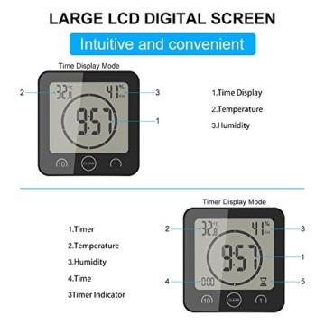 FORNORM Shower Clock Dusche Uhr Wasserdicht, Badezimmer Uhr Digital mit Saugnapf LCD Display Luftfeuchtigkeit Temperatur Wanduhren, AM/PM oder 24 Stunden Format, Batterien, Countdown Timer, Schwarz - 3