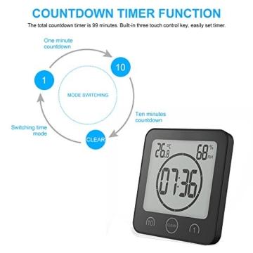 FORNORM Shower Clock Dusche Uhr Wasserdicht, Badezimmer Uhr Digital mit Saugnapf LCD Display Luftfeuchtigkeit Temperatur Wanduhren, AM/PM oder 24 Stunden Format, Batterien, Countdown Timer, Schwarz - 4