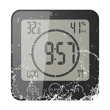 FORNORM Shower Clock Dusche Uhr Wasserdicht, Badezimmer Uhr Digital mit Saugnapf LCD Display Luftfeuchtigkeit Temperatur Wanduhren, AM/PM oder 24 Stunden Format, Batterien, Countdown Timer, Schwarz - 1