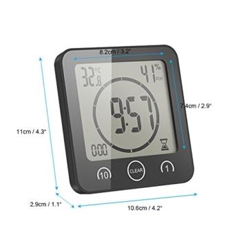 FORNORM Shower Clock Dusche Uhr Wasserdicht, Badezimmer Uhr Digital mit Saugnapf LCD Display Luftfeuchtigkeit Temperatur Wanduhren, AM/PM oder 24 Stunden Format, Batterien, Countdown Timer, Schwarz - 6