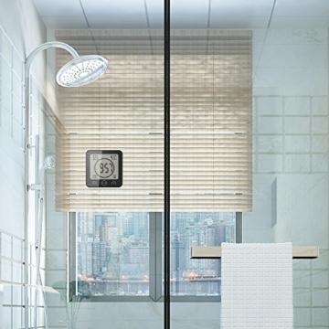 FORNORM Shower Clock Dusche Uhr Wasserdicht, Badezimmer Uhr Digital mit Saugnapf LCD Display Luftfeuchtigkeit Temperatur Wanduhren, AM/PM oder 24 Stunden Format, Batterien, Countdown Timer, Schwarz - 7