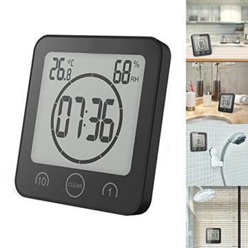 FORNORM Shower Clock Dusche Uhr Wasserdicht, Badezimmer Uhr Digital mit Saugnapf LCD Display Luftfeuchtigkeit Temperatur Wanduhren, AM/PM oder 24 Stunden Format, Batterien, Countdown Timer, Schwarz - 8