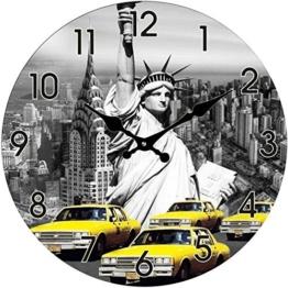 Glas Uhr Amerika Statue of Liberty & New York Taxi Durchmesser 28 cm, Wanduhr im Vintage Look mit Freiheitsstatue Motiv, ausgefallenes Geschenk für USA und Retro Fans - 1