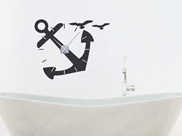 GRAZDesign 800096_GD_074 Wandtattoo Uhr Wanduhr für Badezimmer Seefahrer Anker Möwen   Maritim mit Uhrwerk (71x57cm//074 Mittelgrau//Uhrwerk Gold) - 2