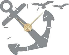 GRAZDesign 800096_GD_074 Wandtattoo Uhr Wanduhr für Badezimmer Seefahrer Anker Möwen | Maritim mit Uhrwerk (71x57cm//074 Mittelgrau//Uhrwerk Gold) - 1