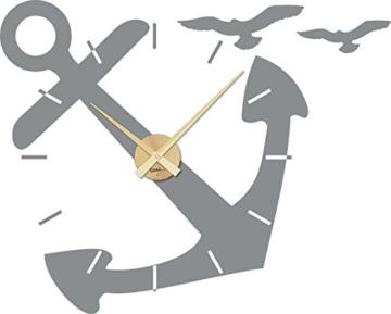 GRAZDesign 800096_GD_074 Wandtattoo Uhr Wanduhr für Badezimmer Seefahrer Anker Möwen   Maritim mit Uhrwerk (71x57cm//074 Mittelgrau//Uhrwerk Gold) - 1