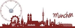 GRAZDesign 800241_SI_030 Wandtattoo Wanduhr Skyline München die Hauptstadt von Bayern für Ihr Zuhause (150x57cm//030 Dunkelrot//Uhrwerk Silber) - 1