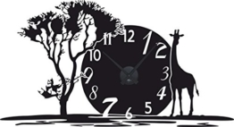 GRAZDesign 800350_BK_070 Wandtattoo Uhr mit Uhrwerk Wanduhr für Wohnzimmer Afrika Giraffe Land Baum (105x57cm // 070 schwarz // Uhrwerk schwarz) - 1