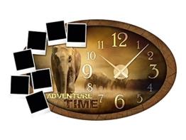 GRAZDesign 801117_GD Wandsticker Uhr Bilderrahmen Sticker für Wohnzimmer Afrika Wanduhr Wandtattoo (95x57cm//Uhrwerk gold) - 1