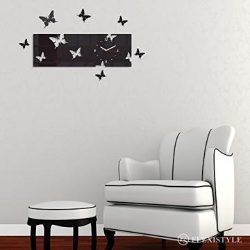 Große moderne Wanduhr Schmetterling grau Querformat 20 x 60 cm, 3d DIY, Wohnzimmer, Schlafzimmer, Kinderzimmer - 3