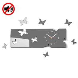 Große moderne Wanduhr Schmetterling grau Querformat 20 x 60 cm, 3d DIY, Wohnzimmer, Schlafzimmer, Kinderzimmer - 1