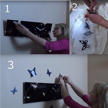 Große moderne Wanduhr Schmetterling grau Querformat 20 x 60 cm, 3d DIY, Wohnzimmer, Schlafzimmer, Kinderzimmer - 4