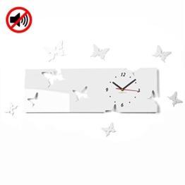 Große moderne Wanduhr Schmetterling Weiß Querformat 20 x 60 cm, 3d DIY, Wohnzimmer, Schlafzimmer, Kinderzimmer - 1
