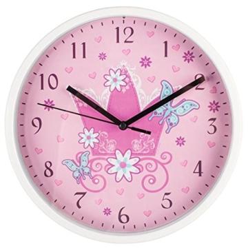 """Hama Kinder Wanduhr ohne Ticken """"Krone"""" (analoge Uhr, großes Ziffernblatt mit Ø 22,5 cm, geräuscharm, mit Prinzessinnen-Motiv, z.B. für's Kinderzimmer) Kinderwanduhr rosa - 2"""