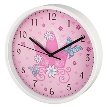 """Hama Kinder Wanduhr ohne Ticken """"Krone"""" (analoge Uhr, großes Ziffernblatt mit Ø 22,5 cm, geräuscharm, mit Prinzessinnen-Motiv, z.B. für's Kinderzimmer) Kinderwanduhr rosa - 1"""
