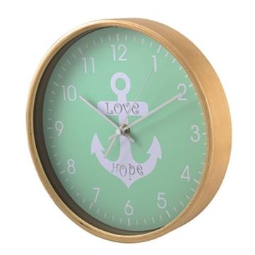 Hama Wanduhr (geräuscharme Uhr ohne Ticken, Holzrahmen, Ankerdesign, 26 cm) mint - 2