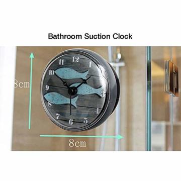 Hmjunboys Dusche Uhr Wasserdicht Badezimmer Wanduhr Kreative Mini Saugnäpfe Badezimmeruhr Mittelmeer Kleiner Fisch für Küche Wohnzimmer Schlafzimmer Dekoration, Ø 8 cm - 2