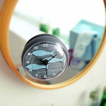 Hmjunboys Dusche Uhr Wasserdicht Badezimmer Wanduhr Kreative Mini Saugnäpfe Badezimmeruhr Mittelmeer Kleiner Fisch für Küche Wohnzimmer Schlafzimmer Dekoration, Ø 8 cm - 4