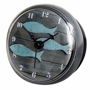 Hmjunboys Dusche Uhr Wasserdicht Badezimmer Wanduhr Kreative Mini Saugnäpfe Badezimmeruhr Mittelmeer Kleiner Fisch für Küche Wohnzimmer Schlafzimmer Dekoration, Ø 8 cm - 1