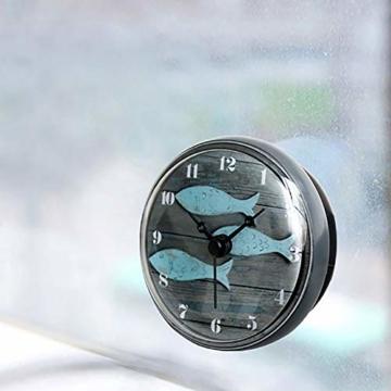 Hmjunboys Dusche Uhr Wasserdicht Badezimmer Wanduhr Kreative Mini Saugnäpfe Badezimmeruhr Mittelmeer Kleiner Fisch für Küche Wohnzimmer Schlafzimmer Dekoration, Ø 8 cm - 5