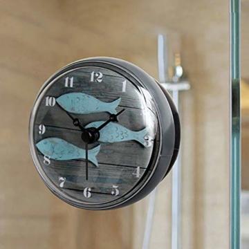 Hmjunboys Dusche Uhr Wasserdicht Badezimmer Wanduhr Kreative Mini Saugnäpfe Badezimmeruhr Mittelmeer Kleiner Fisch für Küche Wohnzimmer Schlafzimmer Dekoration, Ø 8 cm - 7