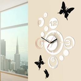 Jago Wanduhr mit Wandtattoos | 3D Spiegeloptik, im niedlichen Schmetterlings-Design aus pflegeleichtem Acryl - 1