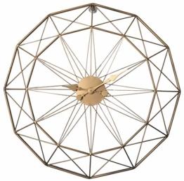 Jo332Bertram 3D 60cm Vintage Wanduhr Groß Wanduhr Uhr Metall Ohne Tickgeräusche Dekorative Wanduhr für Küche Wohnzimmer Büro - Golden - 1