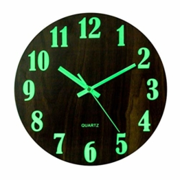 Jo332Bertram Leuchtend Wanduhr, 30cm Moderne Wanduhr Holz, Wanduhr Einfach Ohne Tickgeräusche für Küche, Küche, Büro, Weiß - 1