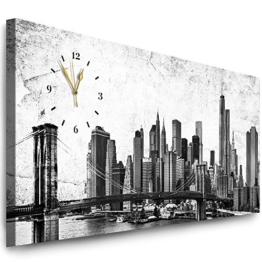Julia-Art Bilder - New York Bild auf Leinwand mit Uhr - Wandbild fertig gerahmt - 120 x 50 cm - Leinwandbild Panorama- Schwarz Weiß Kunstdruck Skyline Stadt NY City Usa Wanduhr Quarzuhr N-c-100-a-107 - 1