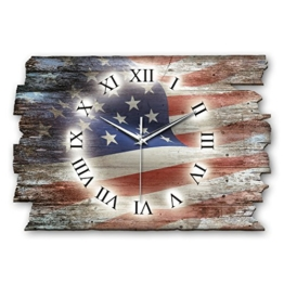 Kreative Feder USA Flagge Landhaus Shabby Style Designer Wanduhr Funkuhr aus Holz *Made in Germany Leise Ohne Ticken WH094FL 40x27cm - 1