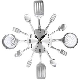Küchenuhr, Likeluk 15 Zoll(38cm) Besteck-Design Lautlos Wanduhr Küche Dekorative Uhr Cutlery Kitchen Wall Clock, Edelstahl - 1