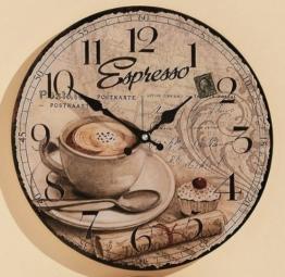 KUHEIGA Wanduhr Ø: 34cm aus Glas Küchenuhr Kaffee Küche Espresso - 1
