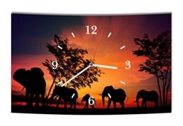 LAUTLOSE Designer Wanduhr Afrika Elefant Elefanten schwarz orange modern Dekoschild Abstrakt Bild 38 x 25cm - 1