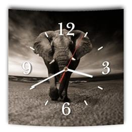 LAUTLOSE Designer Wanduhr mit Spruch Afrika Elefant schwarz weiß grau weiß modern Dekoschild Abstrakt Bild 29,5 x 28cm - 1