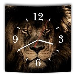 LAUTLOSE Designer Wanduhr mit Spruch Afrika Löwe braun schwarz grau weiß modern Dekoschild Abstrakt Bild 29,5 x 28cm - 1