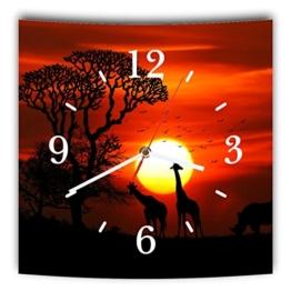 LAUTLOSE Designer Wanduhr mit Spruch Afrika Orange schwarz Giraffe Nashorn grau weiß modern Dekoschild Abstrakt Bild 29,5 x 28cm - 1