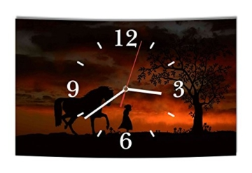 LAUTLOSE Designer Wanduhr Pferd Kind schwarz orange modern Dekoschild Abstrakt Bild 39 x 25cm - 1