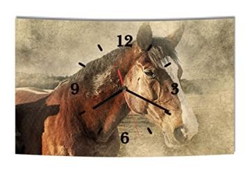 LAUTLOSE Designer Wanduhr Pferd Mädchen Pferde braun modern Dekoschild Abstrakt Bild 38 x 25cm - 1
