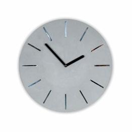 levandeo Hochwertige Wanduhr Beton-Uhr 30cm Grau Spiegelziffer Modern Wanddeko Deko Designer Uhr Spiegel Zement - 1
