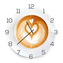 levandeo Wanduhr aus Glas 30x30cm Uhr als Glasbild Küche Cappuchino Kaffee Coffee Deko - 1