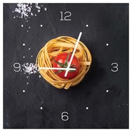 levandeo Wanduhr aus Glas 30x30cm Uhr Glasbild Küche Pasta Nudeln Gewürze Kochen Deko - 1